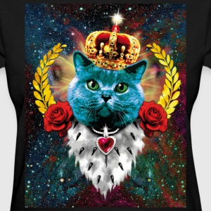 01 Blue Cat King Queen golden Crown Roses T-Shirt - Women's T-Shirt