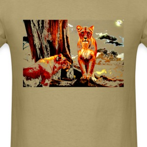 LIONS IN A MAGICAL FOREST BROWNS - Men's T-Shirt