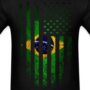 US Brazil Flag Grunge T-Shirts - Men's T-Shirt