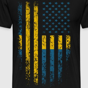 Sweden USA Flag Grunge T-Shirts - Men's Premium T-Shirt