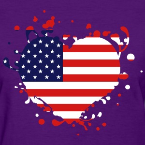 us america american flag united states heart - T-shirt pour femmes