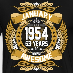 January 1954 63 Years Of Being Awesome T-Shirts - Men's Premium T-Shirt
