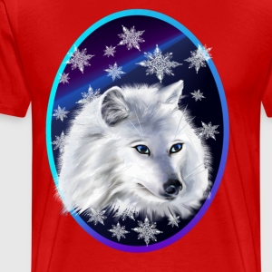 WHITE SNOW WOLF  oval - Men's Premium T-Shirt