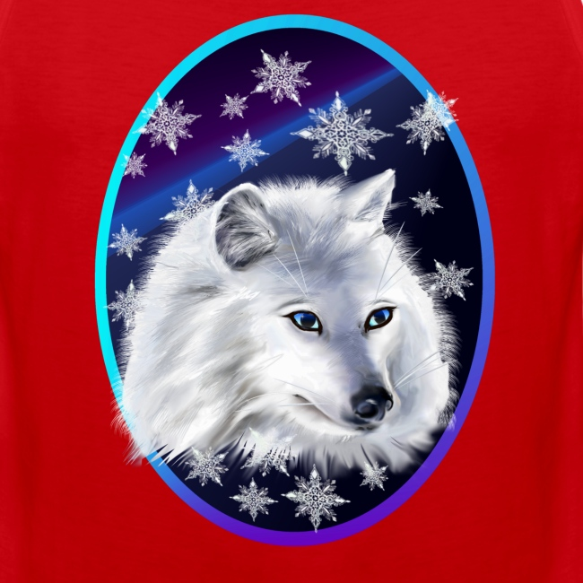 WHITE SNOW WOLF  oval