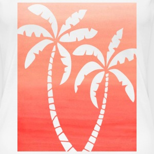Women's Dark Peach Ombre Palm Cutout White T-shirt - Women's Premium T-Shirt