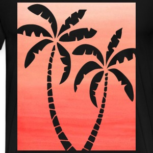 Men's Black T-shirt with Dark Peach Ombre Palm Cut - Men's Premium T-Shirt