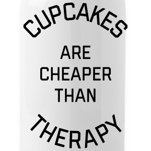 Cupcakes Cheaper Therapy Funny Quote Sportswear - Water Bottle