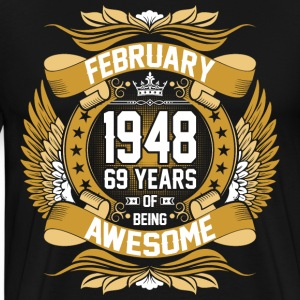 February 1948 68 Years Of Being Awesome T-Shirts - Men's Premium T-Shirt