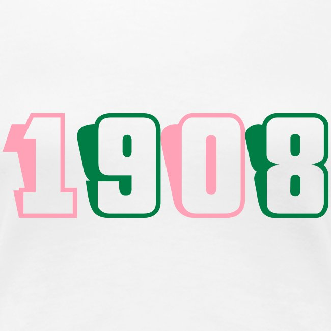 1908 fitted tee (pink and green text)