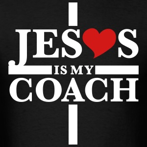 Jesus Christ is my coach cross heart Love T-Shirt - Men's T-Shirt