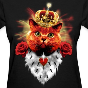 Red Cat King Queen Crown Roses Love Heart T-Shirt - Women's T-Shirt