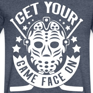 Get Your Game Face On (Hockey) T-Shirts - Men's V-Neck T-Shirt by Canvas