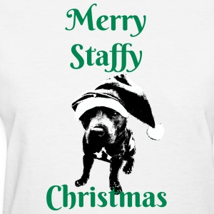 Merry Christmas Staffy - Women's T-Shirt