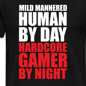 Mild Mannered Human By Day Gamer by Night T-Shirt T-Shirts - Men's Premium T-Shirt