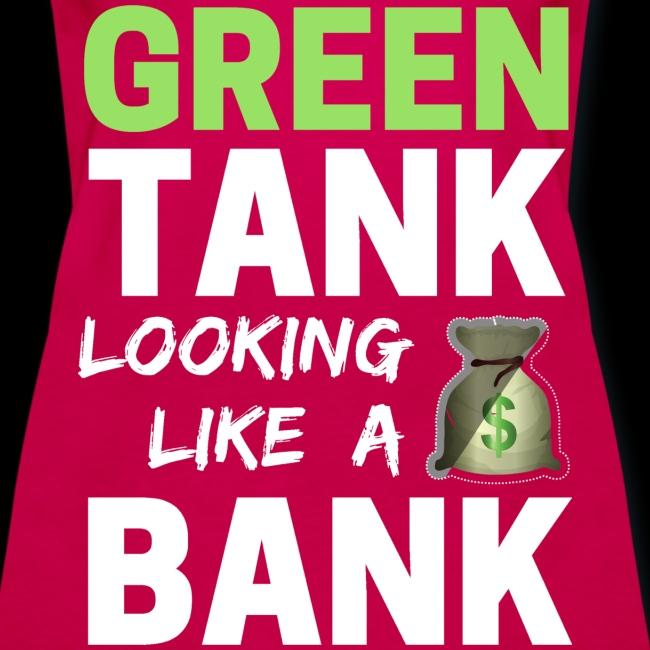 Ladies' GREEN TANK - Plus Top w/ White Text