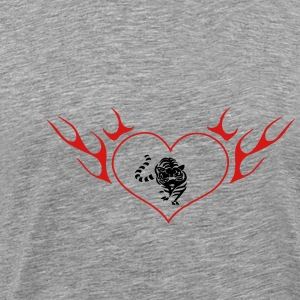 Lion in the flame heart - Men's Premium T-Shirt