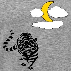 Lion with Moon and clouds - Men's Premium T-Shirt