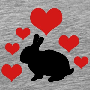 Bunny with 6 hearts 2 - Men's Premium T-Shirt