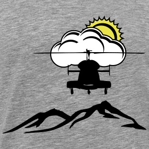 Heli, mountain, Sun, clouds - Men's Premium T-Shirt