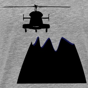 Helicopter in mountain - Men's Premium T-Shirt