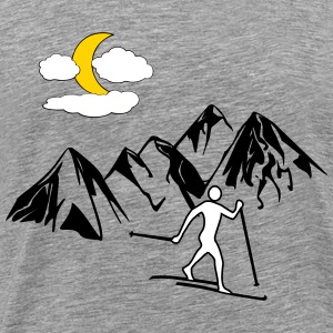 Cross-country skiers, mountain, Moon - Men's Premium T-Shirt