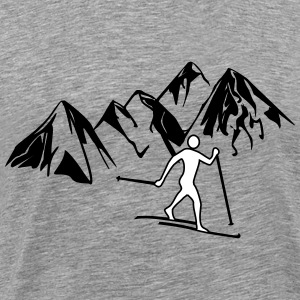 Cross-country skiers before mountains - Men's Premium T-Shirt