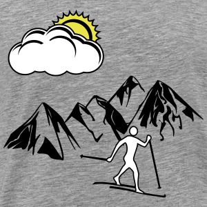 Cross-country skiers, the mountains, the Sun - Men's Premium T-Shirt
