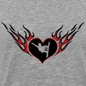 Snowboarder flame heart - Men's Premium T-Shirt