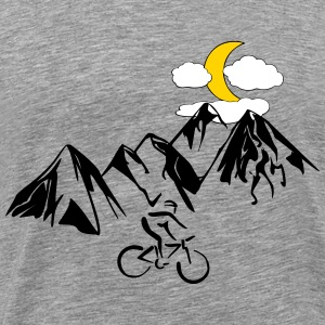 Mountain bikers with mountains - Men's Premium T-Shirt