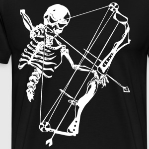 Skeleton Hunting Bow Deer T-Shirts - Men's Premium T-Shirt