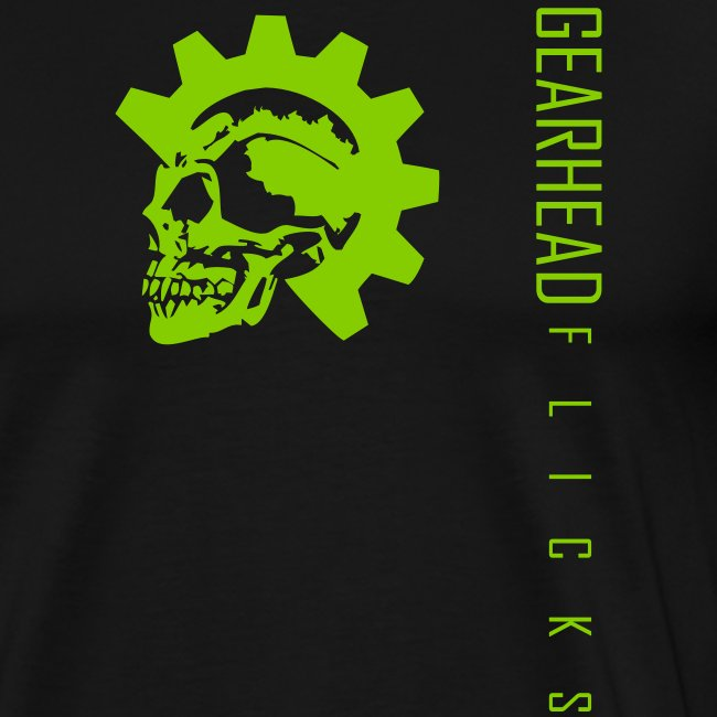 Skull chest & text sideways (Green)
