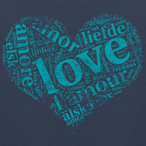 mint green heart LOVE in different languages Sportswear - Men's Premium Tank