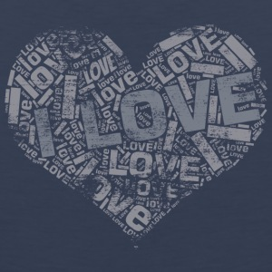 Grey Grunge Heart I LOVE word cloud Sportswear - Men's Premium Tank