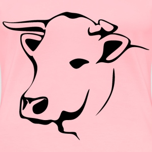 Stylized Cow Line Art - Women's Premium T-Shirt