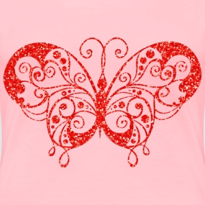 Ruby High Detail Flourish Butterfly Silhouette - Women's Premium T-Shirt