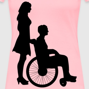 Woman Pushing Man In Wheelchair Silhouette - Women's Premium T-Shirt