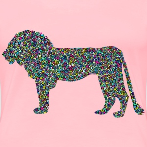 Polyprismatic Tiled Lion Profile Silhouette With  - Women's Premium T-Shirt