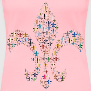 Colorful Fleur De Lis Fractal 4 - Women's Premium T-Shirt