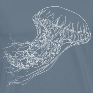 Jellyfish realistic lineart in white - Men's Premium T-Shirt