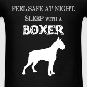 Boxer - Feel  Safe At Night. Sleep With A Boxer - Men's T-Shirt