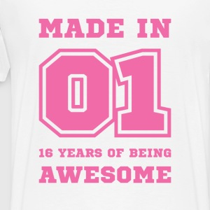 Made in 01 16 Years of being awesome T-Shirts - Men's Premium T-Shirt
