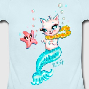 Mermaid Cat with Starfish Baby Bodysuits - Short Sleeve Baby Bodysuit