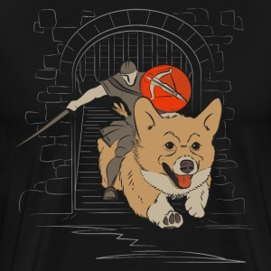 A Corgi Knight charges into battle - Men's Premium T-Shirt