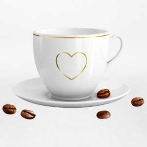 Cup with heart and saucer - Women's Premium T-Shirt