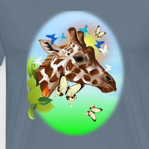 GIRAFFE and BUTTERFLIES-sun - Men's Premium T-Shirt
