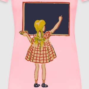 Girl and blackboard - Women's Premium T-Shirt