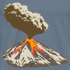 Erupting volcano with ash plume and lava flow - Men's Premium T-Shirt