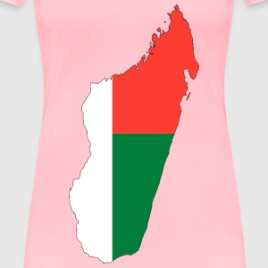 Madagascar Flag Map With Stroke - Women's Premium T-Shirt