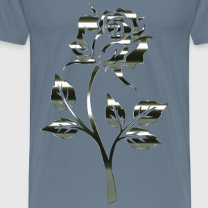 Polished Obsidian Rose Silhouette No Background - Men's Premium T-Shirt