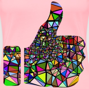 Low Poly Shattered Thumbs Up With Background - Women's Premium T-Shirt